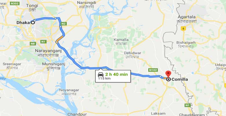 dhaka to comilla road map