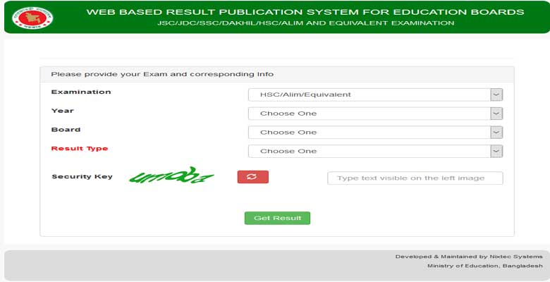 Web Based Result Interface