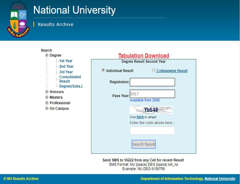 Degree 2nd year result of National University