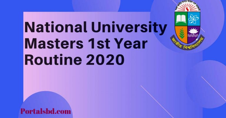 National University Masters st Year Routine