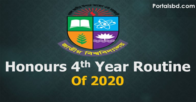 Honours Final Year Exam Routine 2020