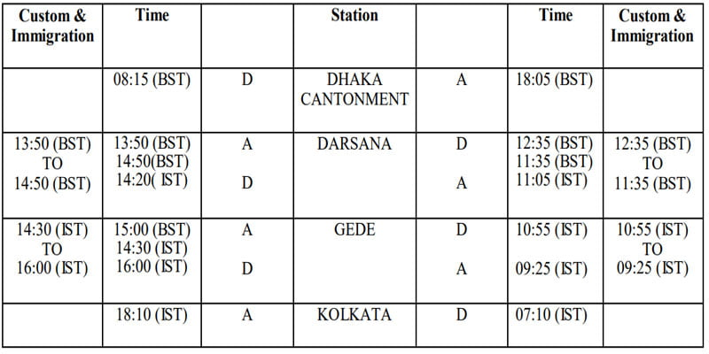 Maitree Express Train Time Table